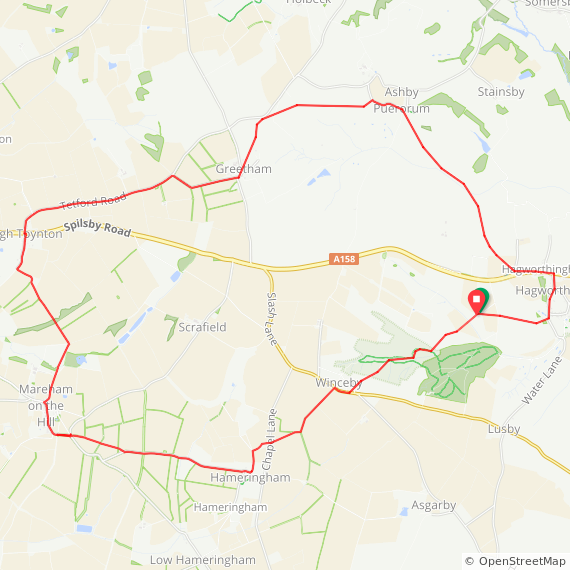 Round walk from Hagworthingham to High Toynton and back.